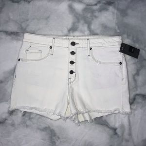 mossimo high-rise white denim shorts